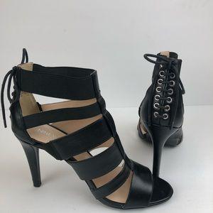 Nine west black lace up back heels size 9